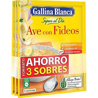 GALLINA BLANCA SOPAS AL DIA de ave con fideos formato ahorro 3 sobres  80 g