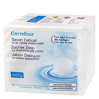 Carrefour Jabón delicado 1/4 crema hidratante Pack 4x100 g