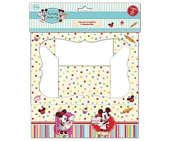 Disney Cajas con diseño Minnie y Mickey Mouse con capacidad para 4 cupcakes o magdalenas, modelo Family Bakery 1 unidad