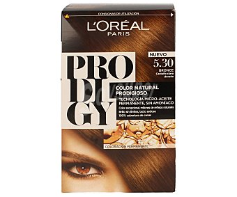 Prodigy L'Oréal Paris tinte Bronce Castaño claro dorado nº 5.30 color natural prodigioso tecnología micro-aceite permanente sin amoniaco caja 1 unidad