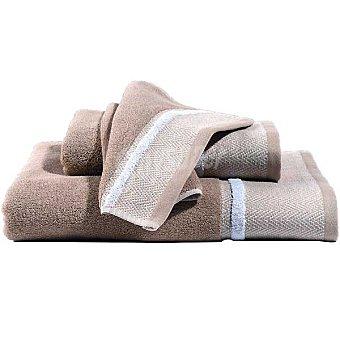 CASACTUAL Paula toalla jacquard de lavabo en color beige con cenefa