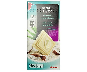 Auchan Chocolate blanco con coco caramelizado 200 gramos