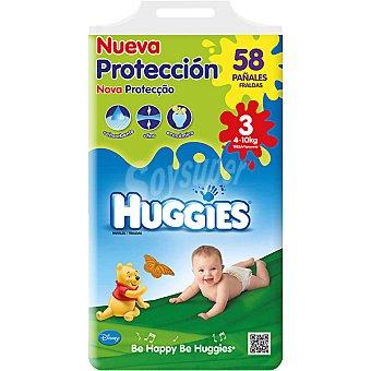 HUGGIES Nueva Protección pañales de 4 A 10 kg talla 3 paquete 58 unidades