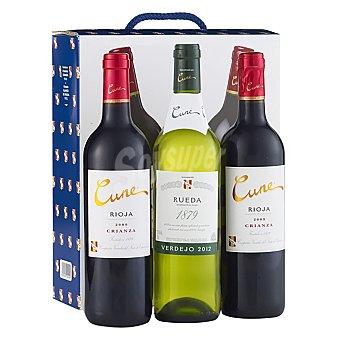 "Cune Estuche de 2 vinos D.O. Ca. ""rioja"" tinto crianza + 1 vino D.O. ""rueda"" verdejo Pack 3x75 cl"