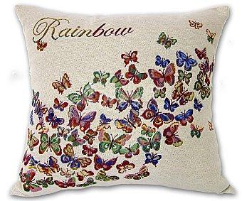 Auchan Cojín de tejido jacquard con estampado de mariposas y cierre de cremallera, 45x45 centímetros 1 unidad