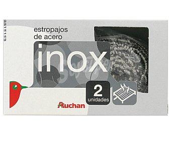 Auchan Estropajos de acero inoxidable Pack de 2 unidades