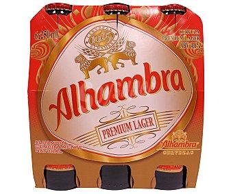 Alhambra Cerveza rubia nacional Premium Lager Pack 6 botellas 25 cl
