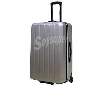 Maleta Maleta de 65cm, con 2 ruedas y estructura rígida de abs, de color plata, maleta