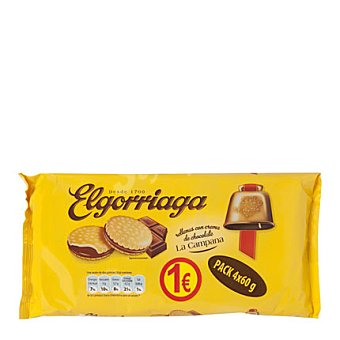 Elgorriaga Galleta rellena de chocolate Pack 4x60 g