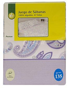 Productos Económicos Alcampo Juego de sábanas estampadas,100% algodón, color malva para cama de 135 centímetros, modelo Ameba 1 unidad