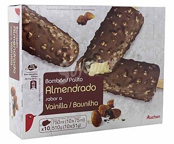 Auchan Helado de vainilla recubierto de chocolate con almendras Pack de 8 unidades de 75 mililitros