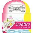 Recambio de maquinilla Quattro For Women Estuche 3 unidades Wilkinson
