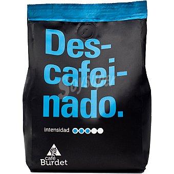 BURDET Café descafeinado en grano 100% arábica aroma intenso Paquete 1 kg