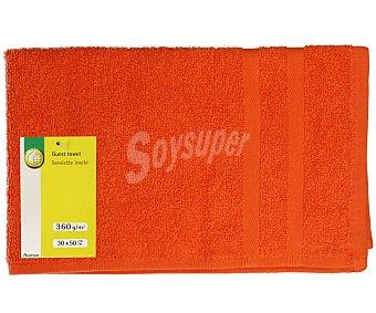 Productos Económicos Alcampo Toalla de tocador lisa color naranja, densidad de 360 gramos/m², 30x50 centímetros 1 unidad