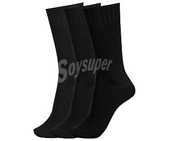 DON POSETS Pack de 3 pares de calcetines clásicos con tacto de seda y puño antipresión, talla única, color negro 3p
