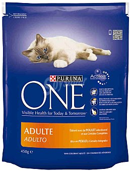 Purina One Alimento de pollo-arroz gato adulto Paquete 450 g