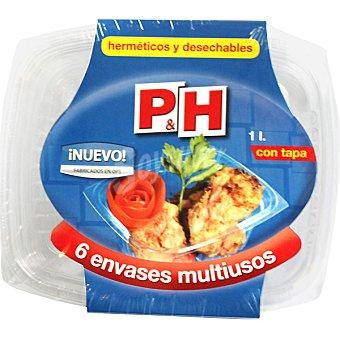 P & H Recipiente multiusos con tapa hermetico y desechable envase 6 unidades 1 l