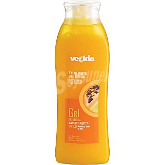 Veckia gel de baño exfoliante con mango y papaya pH 5.5 para piel normal  Bote 500 ml