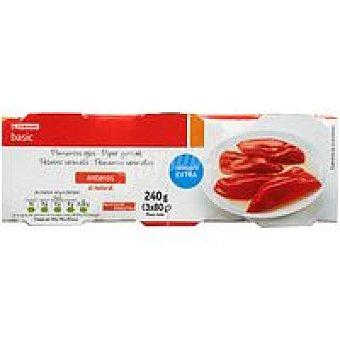 Eroski Basic Pimiento rojo entero Pack 3x60 g