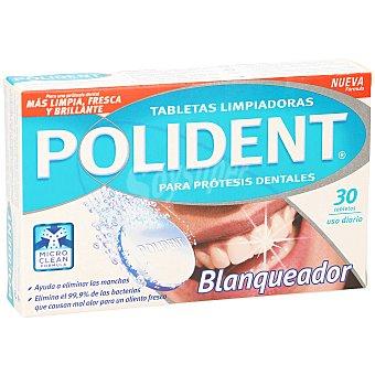 Polident Blanqueador doble acción para prótesis dentales Caja 30 uds