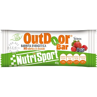 NUTRISPORT Barrita energética sin cobertura de chocolate sabor frutos rojos Outdoor 40 g