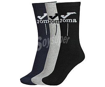 JOMA Pack de 3 pares de calcetines deportivos de rizo, color azul/negro/gris, talla 43/46 3 pares