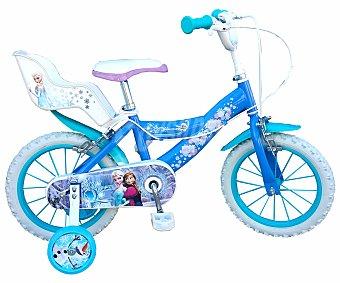 TOIMSA Bicicleta Infantil Frozen con Portamuñecas Trasero, 1 Velocidad 16 Pulgadas 1 Unidad