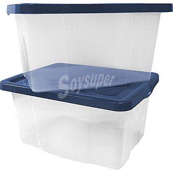 MONDEX set 2 cajas transparentes multiusos con tapa azul 30 l 30 l