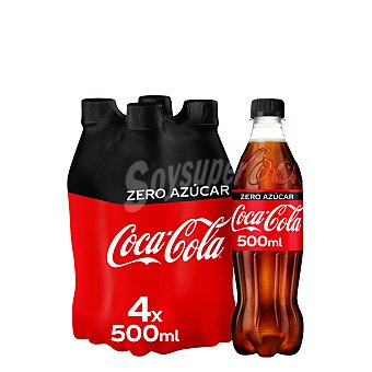 Coca-Cola Zero Refresco de cola zero azúcar Pack 4 botellas x 50 cl