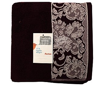 AUCHAN Toalla de algodón para lavabo, estamapado jacquard color morado, 50 x100 centímetros 1 Unidad