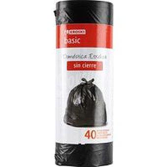 Eroski Bolsa de basura sin cierre 30 l. Paquete 40 unid