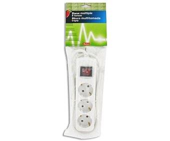 Auchan Base múltiple de 3 tomas con interruptor + protección infantil 1 unidad