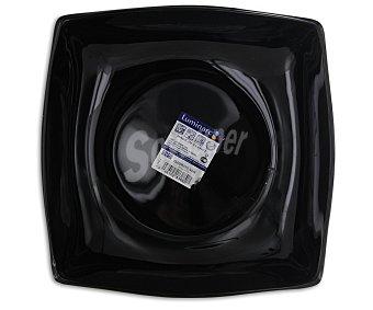 LUMINARC Plato hondo cuadrado modelo Quadrato de 20 centímetros, fabricado en vidrio opal resistente y de color negro 1 Unidad