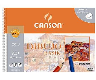 Canson Bloc de dibujo con 20 hojas de 150 gramos de 32.5x46 centímetros (din A3) y encuadernación con espiral metálica 150 g
