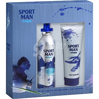 SPORT MAN Free eau de toilette natural masculina + fijador tubo 75 ml Spray 115 ml