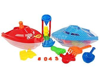 EURASPA Conjunto de juguetes de playa compuesto por un barco + 12 accesorios 1 unidad