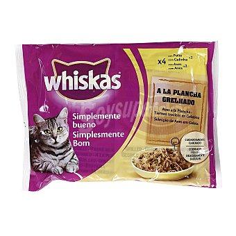 Whiskas Comida para gatos Simplemente Bueno aves a la plancha en trocitos con gelatina para gatos  4 bolsas de 85 g