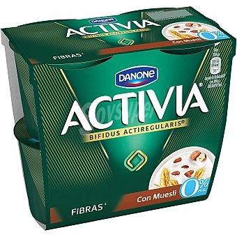 Activia Danone Yogur con muesli 0% pack 4 unidades 120 gr Pack 4 unidades 120 gr