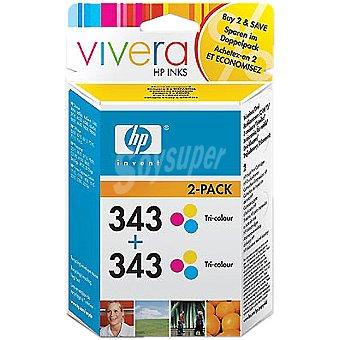 HP Nº 343 cartuchos tricolor Pack de 2
