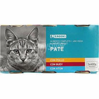 Eroski Patés surtidos para gato Pack 3x400 g