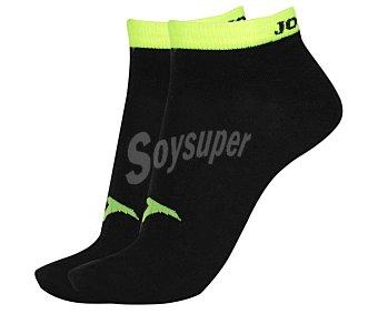 JOMA Pack de 2 pares de calcetines deportivos tobilleros invisibles, color negro y amarillo fluor, talla 39/42 Pack de 2