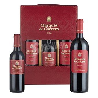 Marqués de Cáceres Lote 86. Estuche de 2 botellas de vino tinto crianza Marqués de Cáceres D.O. Ca. Rioja 75 cl. + 1 botella tinto crianza D.O. Ca. Rioja 37,5 cl Pack 3 botellas