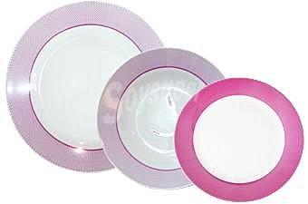 Conjunto Vajilla Mod. PUNTITOS MORADOS 18 piezas en porcelana decorada  1 ud