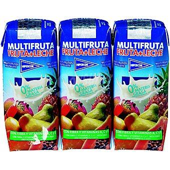 HIPERCOR multifrutas zumo con leche pack 3 envase 33 cl