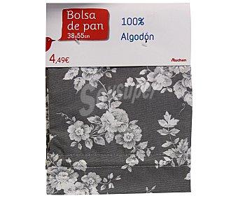 Auchan Bolsa de pan estampado floral color gris claro, 38x55 centímetros 1 Unidad