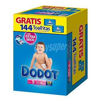 Dodot Azul pañales talla 5 paquete 124 uds + toallitas 144 uds 13-18 kgs