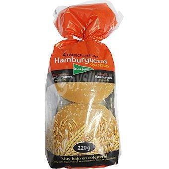 El Corte Inglés pan de hamburguesas con sésamo bolsa 220 g 4 unidades