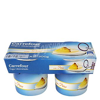 Carrefour Yogur desnatado con piña Pack 2x150 g