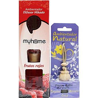 S&S Myhome ambientador natural mikado Frutos Rojos + ambientador natural para pequeños espacios aroma frutos rojos