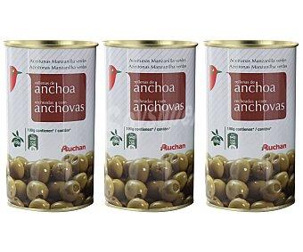 Auchan Aceitunas rellenas de anchoa 3 unidades de 150 gramos